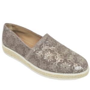 TRASK Cailyn Metallic Lace Suede Espadrille Shoes